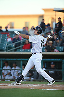 Roberto Ramos (22) of the Lancaster JetHawks bats against the Rancho Cucamonga Quakes at The Hanger on April 28, 2017 in Lancaster, California. Lancaster defeated Rancho Cucamonga, 16-10. (Larry Goren/Four Seam Images)