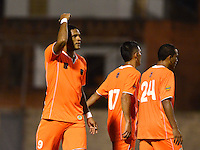 ENVIGADO - COLOMBIA -04 -10-2015: Jose Guerra, jugador Envigado FC celebra el gol anotado al Cucuta Deportivo, durante partido entre Envigado FC y Cucuta Deportivo, partido por la fecha 15 de la Liga Aguila II 2015, jugado en el estadio Polideportivo Sur de la ciudad de Envigado. / Jose Guerra, player of Envigado FC celebrates a scored goal to Cucuta Deportivo, during a match between Envigado FC and Cucuta Deportivo, for the date 15 between for the Liga Aguila II 2015 at the Polideportivo Sur stadium in Envigado city. Photo: VizzorImage. / Leon Monsalve / Str.