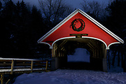 Flume Covered Bridge in Franconia Notch State Park of Lincoln, New Hampshire during the night.