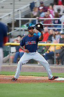 Salem Red Sox first baseman Josh Ockimey (30) catches a throw during the first game of a doubleheader against the Potomac Nationals on May 13, 2017 at G. Richard Pfitzner Stadium in Woodbridge, Virginia.  Potomac defeated Salem 6-0.  (Mike Janes/Four Seam Images)