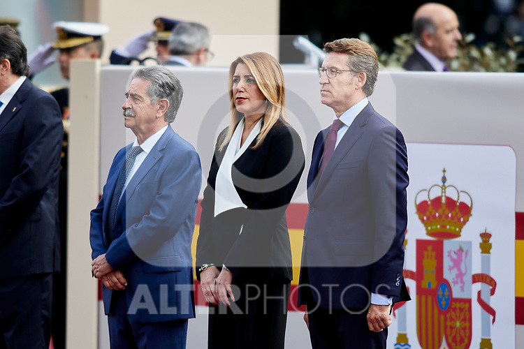 Miguel Angel Revilla and Susana Diaz attends to Spanish National Day military parade in Madrid, Spain. October 12, 2018. (ALTERPHOTOS/A. Perez Meca)