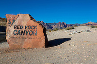 Red Rock Canyon, Nevada.  Boundary Sign along Road.