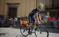 Gorka Izagirre (ESP/Movistar) to the start<br /> <br /> stage 19: St-Jean-de-Maurienne - La Toussuire / Les Sybelles   (138km)<br /> Tour de France 2015