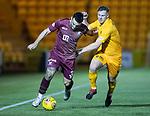 Livingston v St Johnstone…31.10.18…   Tony Macaroni Arena    SPFL<br />Tony Watt fends off Alan Lithgow<br />Picture by Graeme Hart. <br />Copyright Perthshire Picture Agency<br />Tel: 01738 623350  Mobile: 07990 594431