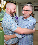 Shane Marshall Brown and Sam Rudy attend the Retirement Celebration for Sam Rudy at Rosie's Theater Kids on July 17, 2019 in New York City.