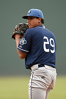 Starting pitcher Erick Julio (29) of the Asheville Tourists delivers a pitch in a game against the Greenville Drive on Wednesday, August 2, 2017, at Fluor Field at the West End in Greenville, South Carolina. Greenville won, 1-0. (Tom Priddy/Four Seam Images)