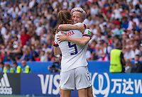 PARIS,  - JUNE 28: Kelley O'Hara #5 and Megan Rapinoe #15 celebrate a goal during a game between France and USWNT at Parc des Princes on June 28, 2019 in Paris, France.