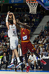 Real Madrid´s Rudy Fernandez and Galatasaray´s Young during 2014-15 Euroleague Basketball match between Real Madrid and Galatasaray at Palacio de los Deportes stadium in Madrid, Spain. January 08, 2015. (ALTERPHOTOS/Luis Fernandez)
