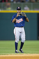 Gwinnett Braves shortstop Elmer Reyes (2) on defense against the Charlotte Knights at BB&T Ballpark on August 6, 2014 in Charlotte, North Carolina.  The Knights defeated the Braves  12-10.  (Brian Westerholt/Four Seam Images)