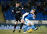 St Johnstone v Rangers…27.02.18…  McDiarmid Park    SPFL<br />George Williams is tackled by Sean Goss<br />Picture by Graeme Hart. <br />Copyright Perthshire Picture Agency<br />Tel: 01738 623350  Mobile: 07990 594431