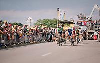 Peter Sagan (SVK/Bora-Hansgrohe) congratulating stage winner Fernando Gaviria (COL/Quick Step Floors) after finishing<br /> <br /> Stage 4: La Baule > Sarzeau (192km)<br /> <br /> 105th Tour de France 2018<br /> ©kramon