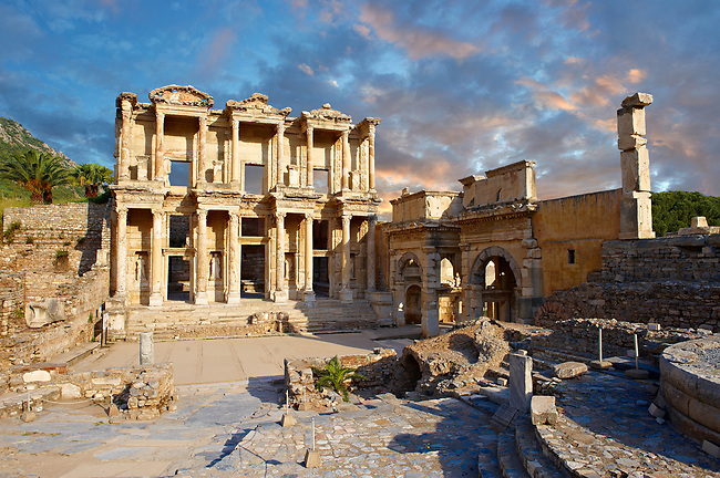 The ancient Library of Celsus , a Roman building ruins in Ephesus, Anatolia, Turkey