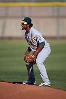 Oakland Athletics Jesus Lopez (3) during an instructional league game against the Los Angeles Angels on October 9, 2015 at the Tempe Diablo Stadium Complex in Tempe, Arizona.  (Mike Janes/Four Seam Images)