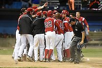 Batavia Muckdogs second baseman Mason Davis (7) is mobbed by teammates at home after hitting a walk off home run during the second game of a doubleheader against the Williamsport Crosscutters on July 29, 2014 at Dwyer Stadium in Batavia, New York.  Batavia defeated Williamsport 1-0.  (Mike Janes/Four Seam Images)