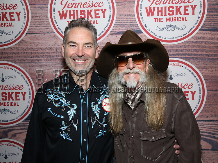 Dewey Moss with Dean Dillon before his concert to launch 'Tennessee Whiskey' The New Musical based on his life at The Studio at Opry City Stage on May 12, 2018 in New York City.