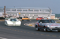 The Pace car leads the #44 Jaguar XJR-5 of Bob Tullius and Bill Adam under caution at  the 12 Hours of Sebring endurance sports car race, March 19, 1983.  (Photo by Brian Cleary/www.bcpix.com)