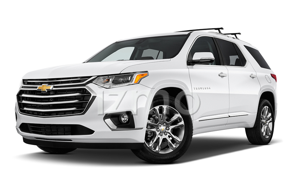 Stock pictures of low aggressive front three quarter view of a 2018 Chevrolet Traverse High Country 5 Door SUV