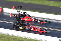 Jul 19, 2020; Clermont, Indiana, USA; NHRA top fuel driver Billy Torrence (near) defeats son Steve Torrence during the Summernationals at Lucas Oil Raceway. Mandatory Credit: Mark J. Rebilas-USA TODAY Sports