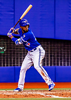 26 March 2018: Toronto Blue Jays outfielder Teoscar Hernandez at bat in the 8th inning of an exhibition game against the St. Louis Cardinals at Olympic Stadium in Montreal, Quebec, Canada. The Cardinals defeated the Blue Jays 5-3 in the first of two MLB pre-season games in the former home of the Montreal Expos. Mandatory Credit: Ed Wolfstein Photo *** RAW (NEF) Image File Available ***