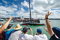 17th March 2021; Waitemata Harbour, Auckland, New Zealand;  Fans and spectators cheer as Luna Rossa Prada Pirelli leaves team base for race 10. 36th America's Cup Race Village, Auckland Viaduct, New Zealand on Wednesday 17th March 2021.