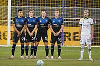 SAN JOSE, CA - SEPTEMBER 19: Andy Rios #25, Florian Jungwirth #23, Tanner Beason #15, and Jackson Yueill #14 of the San Jose Earthquakes form a wall during a game between Portland Timbers and San Jose Earthquakes at Earthquakes Stadium on September 19, 2020 in San Jose, California.