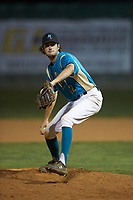 Mooresville Spinners relief pitcher Max LeCroy (12) (Lenoir Rhyne) in action against the Dry Pond Blue Sox at Moor Park on July 2, 2020 in Mooresville, NC.  The Spinners defeated the Blue Sox 9-4. (Brian Westerholt/Four Seam Images)