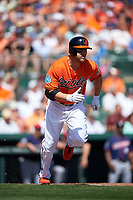 Baltimore Orioles designated hitter Chris Davis (19) runs to first base during a Spring Training game against the Minnesota Twins on March 7, 2016 at Ed Smith Stadium in Sarasota, Florida.  Minnesota defeated Baltimore 3-0.  (Mike Janes/Four Seam Images)