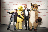 "LUCA WARD & PUPO.attend a photocall to promote the movie ""La Gand De Bosco"" on the eighth day of Rome Film Festival (Festa Internazionale di Roma) in Rome, Italy, October 20th 2006..full length funny animals characters costumes.Ref: CAV.www.capitalpictures.com.sales@capitalpictures.com.©Luca Cavallari/Capital Pictures."