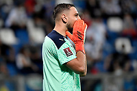 Gianluigi Donnarumma of Italy reacts during the Qatar 2022 world cup qualifying football match between Italy and Lithuania at Citta del tricolore stadium in Reggio Emilia (Italy), September 8th, 2021. Photo Andrea Staccioli / Insidefoto