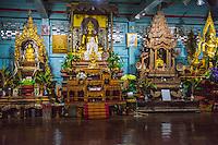 Thailand, Mae Hong Son. Wat Chong Klang Buddhist Monastery. Buddhist altar.