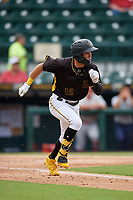 Bradenton Marauders Travis Swaggerty (12) runs to first base during a Florida State League game against the Palm Beach Cardinals on May 10, 2019 at LECOM Park in Bradenton, Florida.  Bradenton defeated Palm Beach 5-1.  (Mike Janes/Four Seam Images)