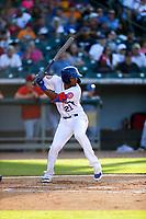 Tennessee Smokies right fielder Brennen Davis (21) at bat against the Rocket City Trash Pandas at Smokies Stadium on June 12, 2021, in Kodak, Tennessee. (Danny Parker/Four Seam Images)