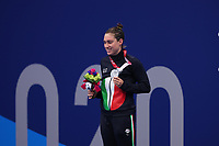 26th August 2021; Tokyo, Japan; Silver medalist GILLI Carlotta (ITA)<br /> celebrates on the podium for the Swimming : Women's 100m Backstroke - S13 Final - Medal Ceremony on August 26, 2021 during the Tokyo 2020 Paralympic Games at the Tokyo Aquatics Centre in Tokyo, Japan.