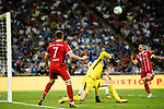 Bayern Munich Midfielder Franck Ribery (L) looks to bring the ball down to Bayern Munich Midfielder James Rodríguez (R) during the International Champions Cup match between Chelsea FC and FC Bayern Munich at National Stadium on July 25, 2017 in Singapore. Photo by Marcio Rodrigo Machado / Power Sport Images