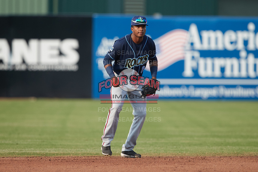 Wilmington Blue Rocks shortstop Yasel Antuna (8) on defense against the Greensboro Grasshoppers at First National Bank Field on May 25, 2021 in Greensboro, North Carolina. (Brian Westerholt/Four Seam Images)