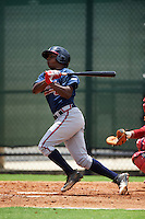 GCL Braves shortstop Nicholas Shumpert (92) at bat during a game against the GCL Phillies on August 3, 2016 at the Carpenter Complex in Clearwater, Florida.  GCL Phillies defeated GCL Braves 4-3 in a rain shortened six inning game.  (Mike Janes/Four Seam Images)