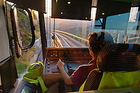 Europe/France/Auverne/63/Puy-de-Dôme/Parc Naturel Régional des Volcans: A bord du Panoramique des Dômes, Train à crémaillère qui  conduit au sommet du Puy-de-Dôme (1465 mètres) // Europe, France, Auverne, Puy-de-Dôme, Regional Park of Auvergne Volcanoes: The puy de Dôme rack railway