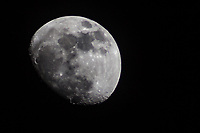 The waxing gibbous moon, four days before the full, blue moon January 31, 2018.