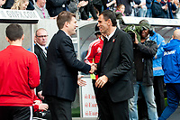 Saturday 19 October 2013 Pictured: Michael Laudrup, Manager of Swansea City shakes hands with Gus Poyet, Manager of Sunderland <br /> Re: Barclays Premier League Swansea City vSunderland at the Liberty Stadium, Swansea, Wales