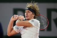 2nd October 2020, Roland Garros, Paris, France; French Open tennis, Roland Garros 2020;  Alexander Zverev of Germany hits a return during the mens singles third round match against Marco Cecchinato of Italy