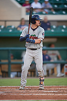 Fort Myers Miracle catcher Caleb Hamilton (20) at bat during a game against the Lakeland Flying Tigers on August 7, 2018 at Publix Field at Joker Marchant Stadium in Lakeland, Florida.  Fort Myers defeated Lakeland 5-0.  (Mike Janes/Four Seam Images)