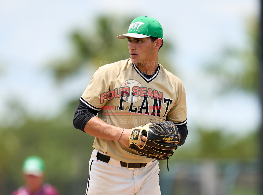Plant High School pitcher Jac Caglianone (19) during the 42nd Annual FACA All-Star Baseball Classic on June 5, 2021 at Joker Marchant Stadium in Lakeland, Florida.  (Mike Janes/Four Seam Images)