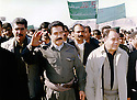 Iraq 1999 .From right to left, Saadi Pira, Kosrat Rasul, Mustafa Tchaoresh at a demonstration of PUK party in Rania.Irak 1999.Manifestation de l'UPK a Rania avec de droite a gauche, Saadi Pira, Kosrat Rasul et Mustafa Tchaoresh