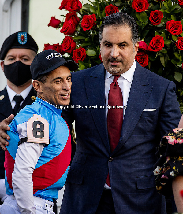 MAY 01, 2021:  Amr Zedan with John Velazquez after winning the Kentucky Derby at Churchill Downs in Louisville, Kentucky on May 1, 2021. EversEclipse Sportswire/CSM