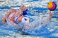 Beata Kovacikova of Slovakia , Anna Turova of Kazakhstan <br /> Kazakhstan KAZ Vs Slovakia SVK <br /> Semifinal 5-8 <br /> Trieste (Italy) 23/01/2021 Bruno Bianchi Aquatic Center <br /> Fina Women's Water Polo Olympic Games Qualification Tournament 2021 <br /> Photo Andrea Staccioli / Deepbluemedia / Insidefoto