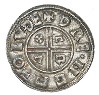BNPS.co.uk (01202 558833)<br /> Pic: DNW/BNPS<br /> <br /> Mint silver penny of King Ethelred II.<br /> <br /> A builder is celebrating today after unearthing an enormous hoard of silver coins worth £50,000.<br /> <br /> Don Crawley was searching Suffolk farmland with his metal detector when he stumbled upon the buried treasure.<br /> <br /> He dug up 99 silver coins - 81 pennies and 18 cut halfpennies - all dating back to Anglo Saxon England and the reign of King Ethelred II from 978-1016AD.