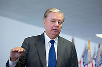 United States Senator Lindsey Graham (Republican of South Carolina) speaks to press as he departs GOP Policy Luncheons at the United States Capitol in Washington D.C., U.S., on Wednesday, June 24, 2020.  Credit: Stefani Reynolds / CNP/AdMedia