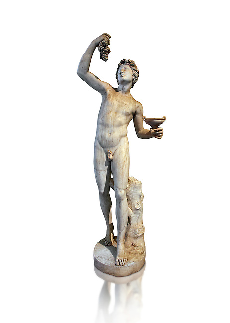 Roman marble sculpture of Faun, a 2nd century AD copy from an original of a late 2nd - 1st century BC late Hellanistic Greek original, inv 6332  Farnese Collection, Naples Museum of Archaeology, Italy