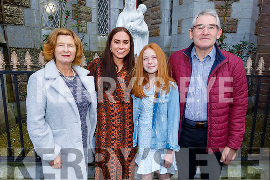 Kayla O'Connor former student of St Brendans NS Blennerville receiving her Confirmation in St John's Church on Saturday. L to r: Niamh, Liz, Kayla and Tom O'Connor.