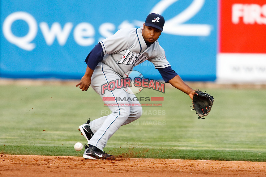 May 29, 2009:  Abraham Nunez of the Reno Aces, Pacific Cost League Triple A affiliate of the Arizona Diamondbacks, during a game at the Spring Mobile Ballpark in Salt Lake City, UT.  Photo by:  Matthew Sauk/Four Seam Images